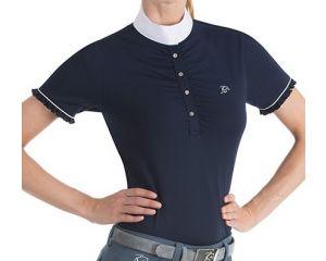 Polo Equitation de concours Bleu Marine Femme Festa manches courtes boutons en strass Anna Scarpati Bleu Marine