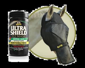 Fly Mask sans oreilles avec nez amovible cheval anti-UVA Absorbine