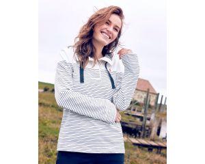 Sweatshirt Femme Saunton Crème rayé Joules
