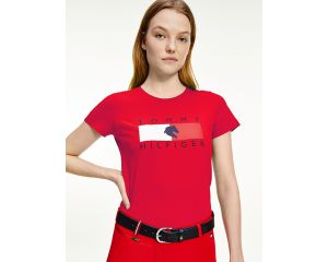 T-Shirt Femme col rond rouge TH Equestrian
